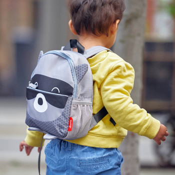 Character Kids Mini Back Pack Toddler Leash & Harness for Child Safety, With Padded Shoulder Straps For Child Comfort Shown On Toddler [Raccoon]