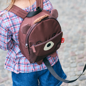 Character Kids Mini Back Pack Toddler Leash & Harness for Child Safety, With Padded Shoulder Straps For Child Comfort Shown On Toddler [Bear]