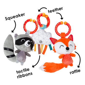 Features squeaker, teether, rattle and tactile ribbons