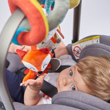 Activity Spiral Baby Toy, Bright Plush Activity Spiral With Interactive Hanging Toys shown on Car Seat Bar