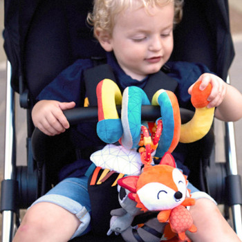 Activity Spiral Baby Toy, Bright Plush Activity Spiral With Interactive Hanging Toys shown on Stroller