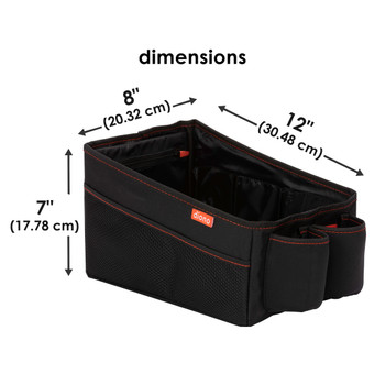 Diono Travel Pal Back Seat Car Organiser, Perfect For Kids Toys, Books, Drinks, With Dividable Storage, Reinforced Carry Handles, Collapsible Car Storage Organiser, Folds Flat [Black]