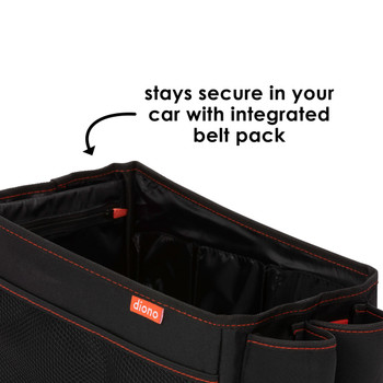 Diono Travel Pal Back Seat Car Organiser stays secure in your car with integrated belt pack [Black]
