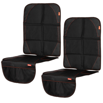 Diono Ultra Mat Pack of 2 Full Size Car Seat Protectors For Under Car Seat [Black]