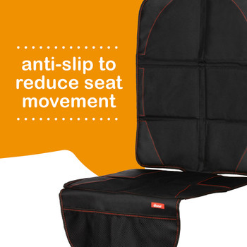 Diono Ultra Mat Pack of 2 Full Size Car Seat Protectors For Under Car Seat has anti-slip to reduce seat movement [Black]