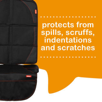 Diono Ultra Mat Pack of 2 Full Size Car Seat Protectors For Under Car Seat protects from spills, scruffs, indentions and scratches [Black]