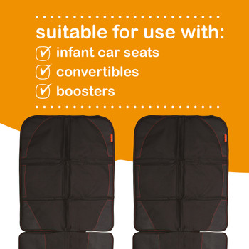 Diono Ultra Mat Pack of 2 Full Size Car Seat Protectors For Under Car Seat  is suitable for use with infant car seats, convertibles and boosters[Black]
