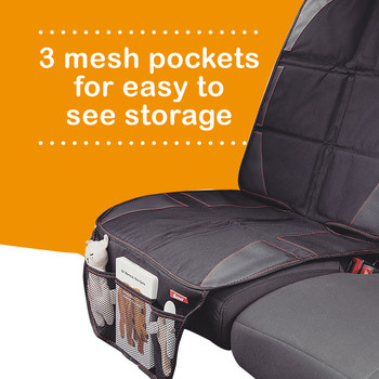 Diono Ultra Mat Pack of 2 Full Size Car Seat Protectors For Under Car Seat has 3 mesh pockets for easy to see storage[Black]