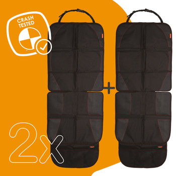 Diono Ultra Mat Pack of 2 Full Size Car Seat Protectors For Under Car Seat is crash tested [Black]