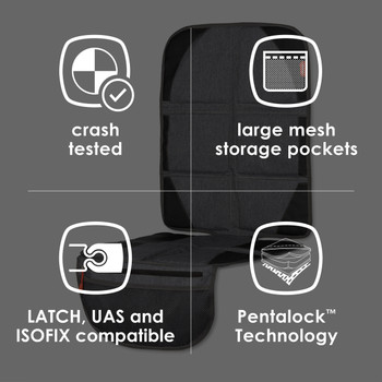 Diono Ultra Mat® Deluxe - Features: Crash Tested, Large Mesh Storage Pockets, LATCH, UAS and ISOFIX Compatible, Pentalock Technology [Gray]