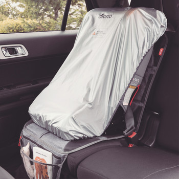 Diono Ultra Mat® Deluxe - Installed with car seat heat shield displayed [Gray]