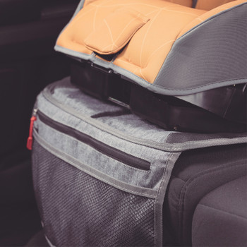 Diono Ultra Mat® Deluxe - Installed on the back seat of a car closeup [Gray]