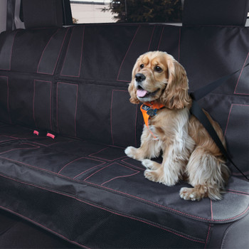 Diono Ultra Mat XXXL - Installed in the back seats of a car with a dog sat on the Mat (Pet friendly) [Black]