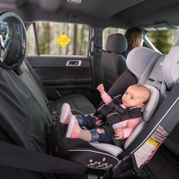 Diono Radian 3RXT All In One Convertible Car Seat with Baby Seated in Rear Facing Position including Easy View Baby Mirror, Baby On The Move Sign and Ultra Mat Seat Protector [Black Gray]