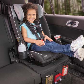 Diono Radian 3RXT All In One Convertible Car Seat with Child Seated in Forward Facing Position including Extra Cup Holder and Ultra Mat Seat Protector with Storage Pockets [Black Gray]