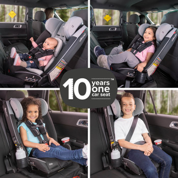 Diono Radian 3RXT All In One Convertible Car Seat, 10 Years One Car Seat Demonstrating the 4 Different Seating Positions from Newborn to Booster, Suitable for 10 Years Of Use [Black Gray]