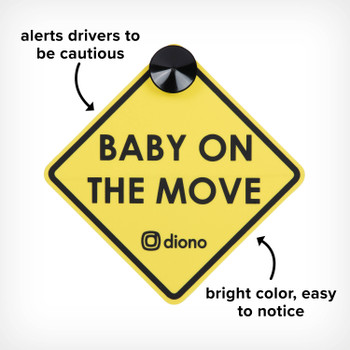 Image cut out of Baby On The Move Sign with Diono logo, Alerts Drivers to Be Cautious and Bright Color so Sign is Easy to Notice, Yellow [Black Gray] [Blue Sky] [Purple Plum]