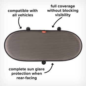 Image cut out of Sun Stop Car Sun Shade for Rear Window, Compatible With All Vehicles, Complete Sun Glare Protection When rear Facing, Full Coverage Without Blocking Visibility, Black [Black Gray] [Blue Sky] [Purple Plum]