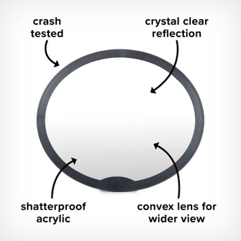 Image cut out of Easy View Rear Facing Baby Mirror, Crash Tested, Crystal Clear Reflection, Shatterproof Acrylic, and Convex Lens for a Wider Clear View, Black  [Black Gray] [Blue Sky] [Purple Plum]