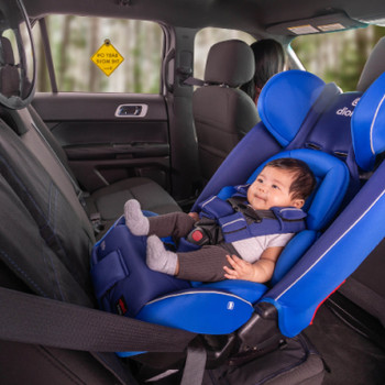 Diono Radian 3RXT All In One Convertible Car Seat with Baby Seated in Rear Facing Position including Easy View Baby Mirror, Baby On The Move Sign and Ultra Mat Seat Protector [Blue Sky]