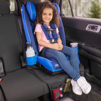 Diono Radian 3RXT All In One Convertible Car Seat with Child Seated in Forward Facing Position including Extra Cup Holder and Ultra Mat Seat Protector with Storage Pockets [Blue Sky]