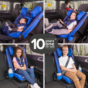 Diono Radian 3RXT All In One Convertible Car Seat, 10 Years One Car Seat Demonstrating the 4 Different Seating Positions from Newborn to Booster, Suitable for 10 Years Of Use [Blue Sky]