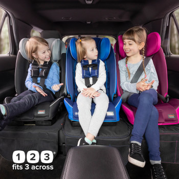 Diono Radian 3RXT All In One Convertible Car Seat, Suitable For 3 Across, 3 Children in Back Seat of Car Demonstrating Forward Facing Position and Fitting 3 Car Seats Across the Back Seat [Blue Sky]