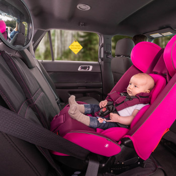 Diono Radian 3RXT All In One Convertible Car Seat with Baby Seated in Rear Facing Position including Easy View Baby Mirror, Baby On The Move Sign and Ultra Mat Seat Protector [Purple Plum]
