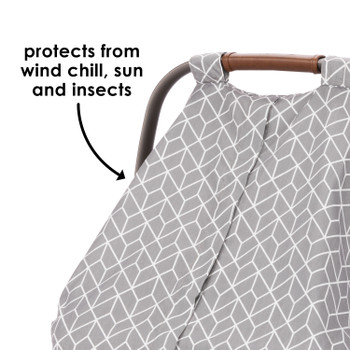 Infant Car Seat Cover protects from wind chill, sun and insects [Gray]