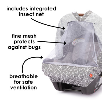 Infant Car Seat Cover includes insect net, fine mesh to protect against bugs and breathable for safe ventilation [Gray]