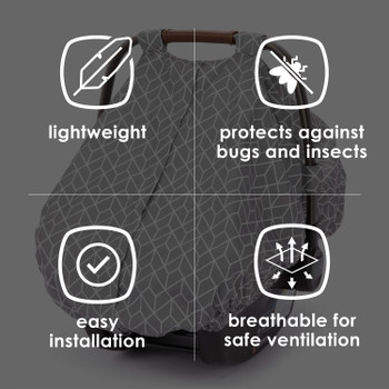 Infant Car Seat Cover is lightweight, protects against bugs and insects, easy to install, and breathable for safe installation [Gray]