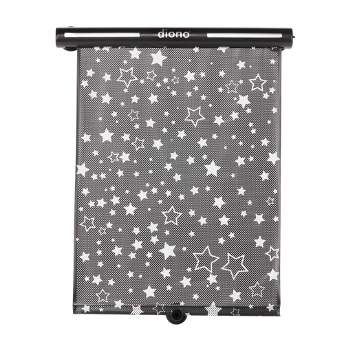 Diono Starry Night Car Window Shade for Baby, Retractable Car Sun Shade for Blocking Sun Glare, UV Rays With Glow In The Darks Stars [Black]