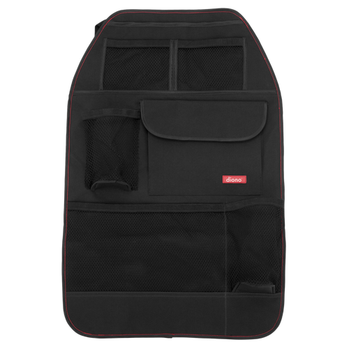 Diono Stow 'n Go Car Back Seat Organiser for Kids, Kick Mat Back Seat Protector, With 7 Storage Pockets, 2 Drinks Holders, Water Resistant, Durable Material [Black]