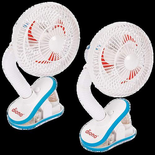 Diono Stroller Fans, Pack of 2 Clip On Baby Safe Stroller Fans [White]