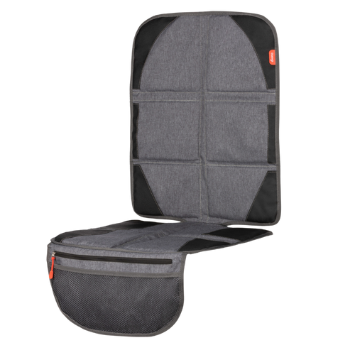 Diono Ultra Mat® Deluxe Full Size Car Seat Protector with Integrated Car Seat Heatshield, Crash Tested With Premium Ultra Thick Padding For Durable, Water Resistant Protection, Includes 3 Mesh Storage Pockets [Gray]