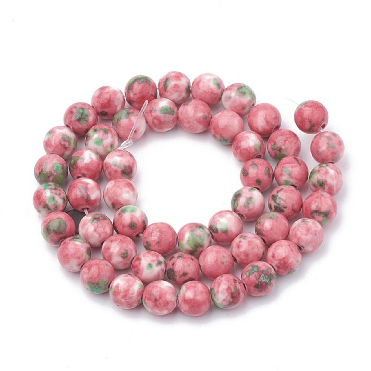 30 Pcs Pink /& Gray 10mm Round Dyed Jade Beads