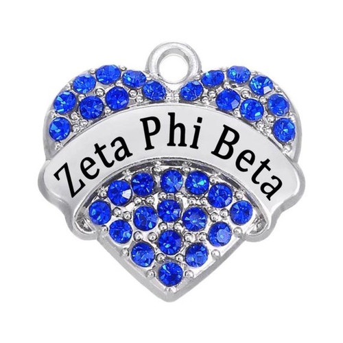 Zeta Phi Beta Rhinestone Heart Charm