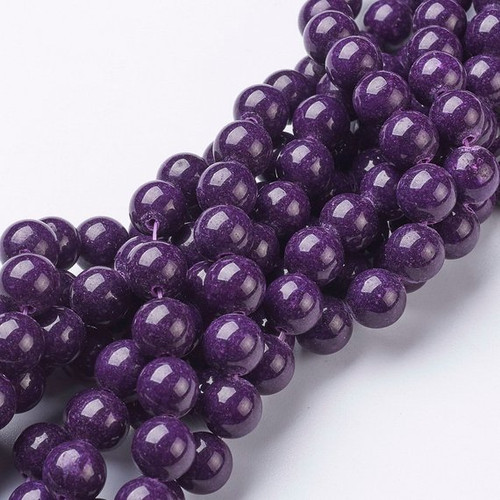 Eggplant Purple Mountain Jade Beads, Round, 10mm