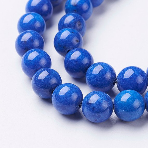 Medium Blue Mountain Jade Beads, Round, 10mm