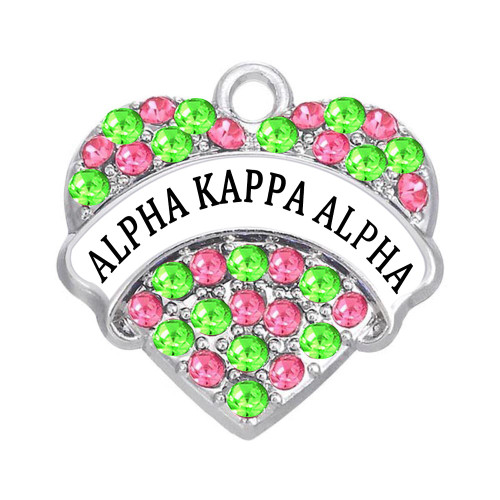 A K A Pink & Green Heart Charm