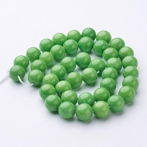 Mountain Jade Beads, Apple Green, Round, 8mm