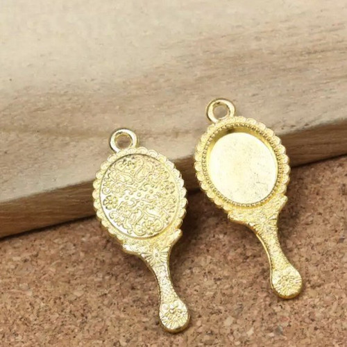 10 Gold Mirror Charms