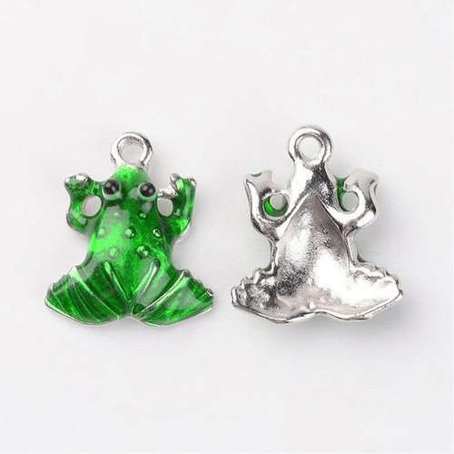 Green Frog Charm, Painted