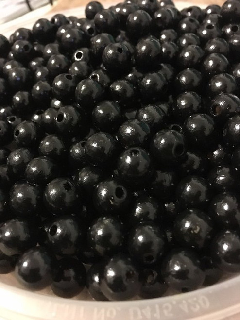 Black Wood Beads, Round, 10mm, 100 pcs