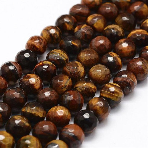 Faceted Tiger Eye Beads 10mm