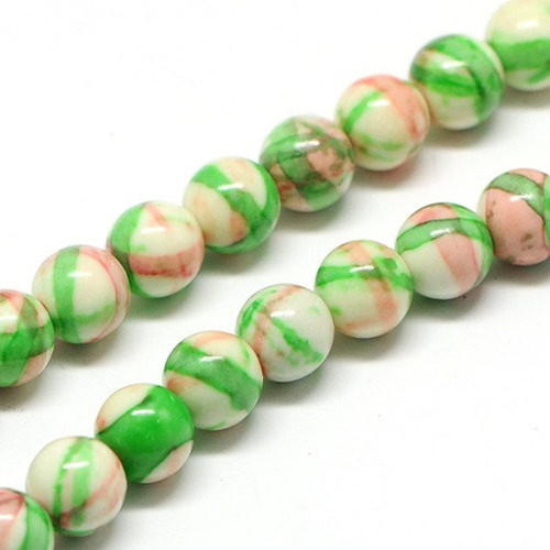 Pink  and Green Jade Beads, Round, 10mm