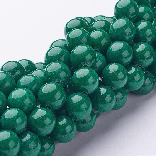 Mountain Jade Beads, Dark Green, Round, 10mm