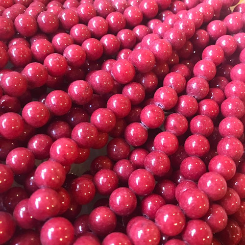 Maroon Mountain Jade Beads, Round, 10mm