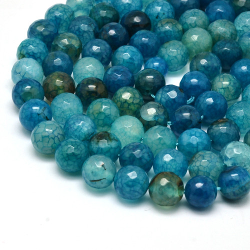 Agate, Blue Green Faceted Round 10mm