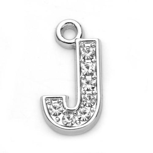 Rhinestone Letter Charm J